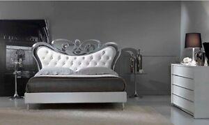 Letto matrimoniale modello tiffany foglia argento eco pelle bianca maggioni ebay - Letto matrimoniale in pelle bianca ...