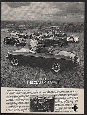 B/&W VINTAGE ADVERTISEMENT 1980 MG MGB Convertible Sports Car Classic Breed