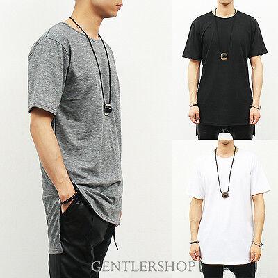 Mens Fashion Loose Fit Unbalanced Long Back Hem Short Sleeve T Shirt,GENTLERSHOP