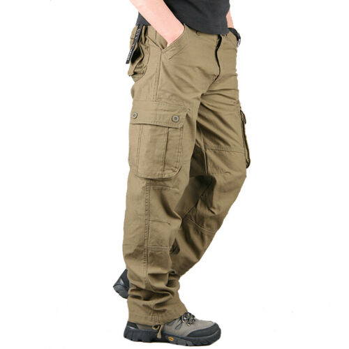 Mens Combat Cargo Work Trousers Army Military Security Pocket Casual Plain Pants