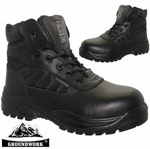 0ab3bb856fc Details about MENS GROUNDWORK SAFETY SHOES LEATHER MILITARY POLICE STEEL  TOE CAP WORK BOOTS SZ