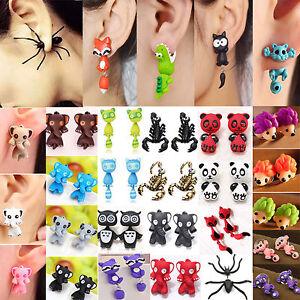 Women-Girl-Cute-3D-Cartoon-Animal-Fox-Cat-Polymer-Clay-Ear-Stud-Earrings-Jewelry