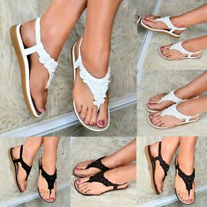 Womens-Low-wedge-Heel-Sandals-Ladies-Flats-T-bar-Shoes-Toe-post-Slingback-size