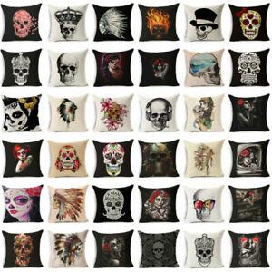 Skull-Cotton-Linen-Pillowcase-Sofa-Seat-Waist-Square-Pillow-Cover-Home-Decor