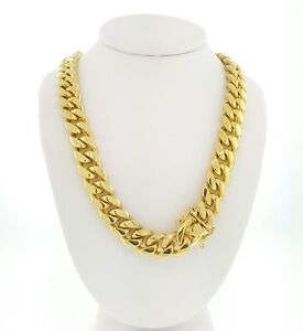 925-Sterling-Silver-Gold-Plated-Solid-Miami-Cuban-Link-Box-Lock-Chain-8mm-12mm