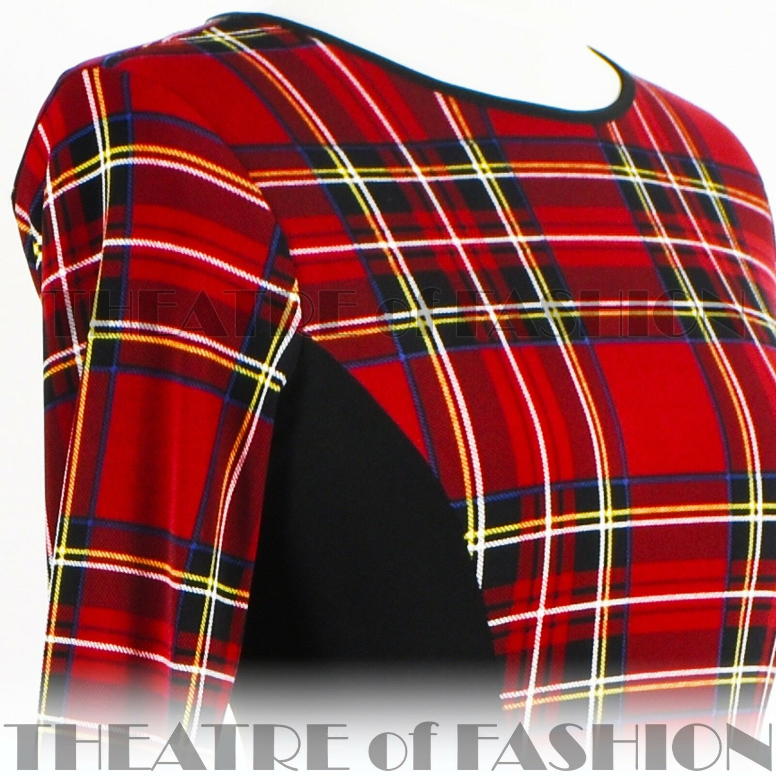 DRESS TARTAN 50s 50s 50s VAMP MOVIE STAR VINTAGE 12 14 16 DIVA 60s POP ART PUNK BODYCON 695013