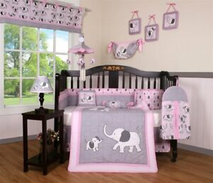 Image Is Loading Pink Gray Elephant 13 Pcs Crib Bedding Set