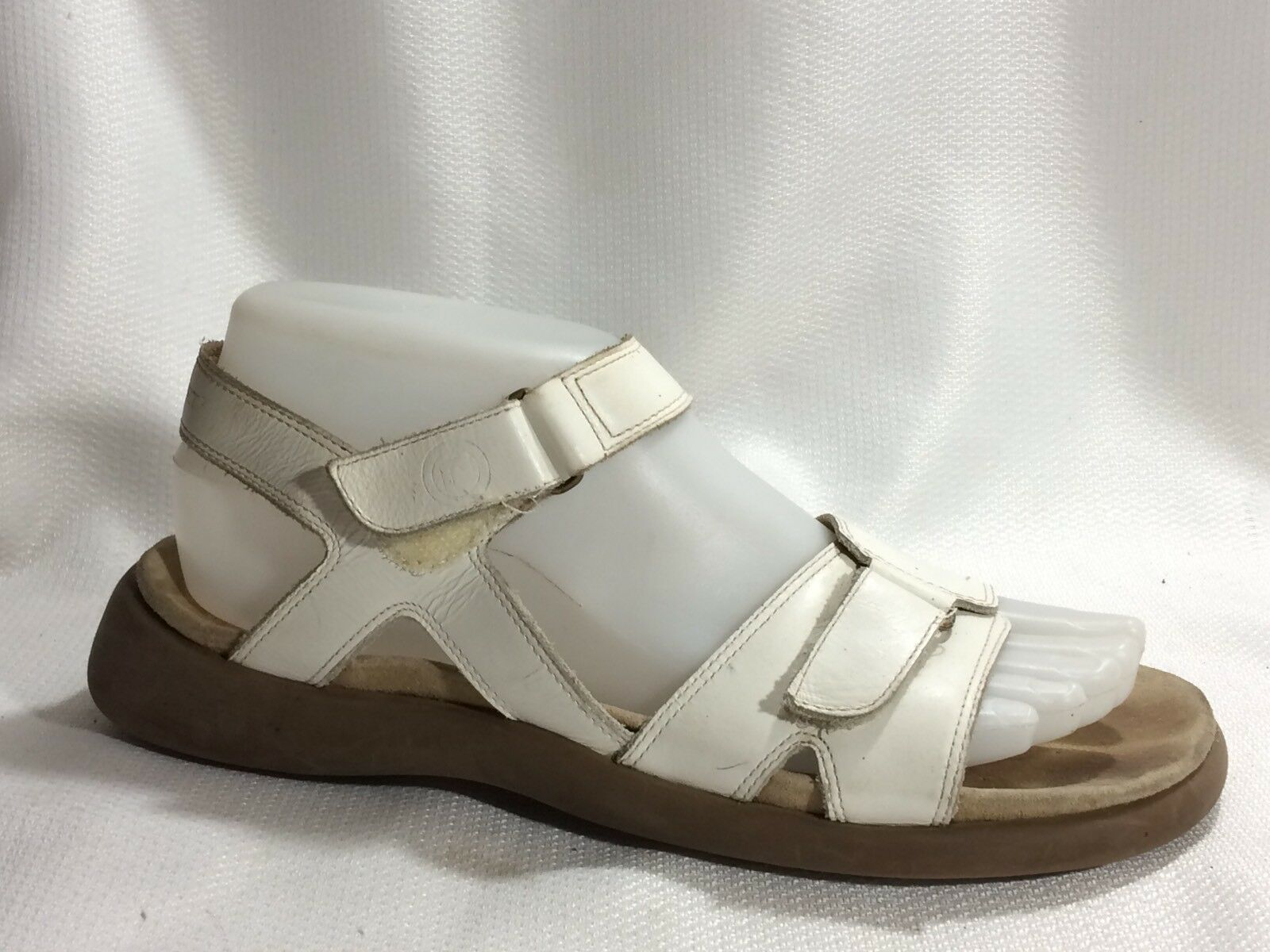 ROCKPORT White Leather Ankle Strap Wedge Heels Open Toe Sandals Womens 7 M shoes