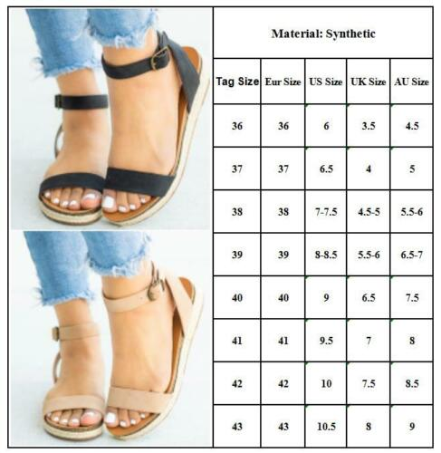 Womens Ladies Shoes Casual Ankle Strap Sandals Summer Flip Flop Flat Low Height