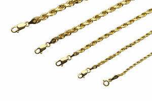 14K-Yellow-Gold-1-5mm-4mm-Italian-Rope-Chain-Pendant-Necklace-Mens-Women-16-034-30-034