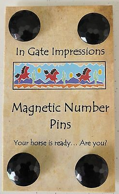 CLASSIC BLACK Magnetic number pins horse show number magnet holders