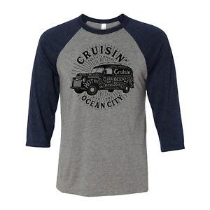 2018-Cruisin-Ocean-City-official-car-show-3-4-sleeve-t-shirt-gray-amp-navy-MD