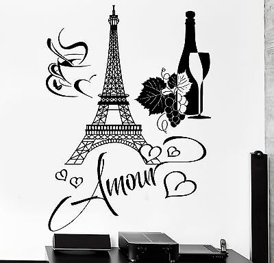 Paris with ladies drinking coffee and Eiffel Tower vinyl wall decal