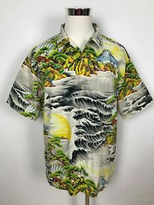 Rusty-Mens-Japanese-Themed-Surf-Button-Up-Short-Sleeve-Shirt-Size-XL-U-S-Import