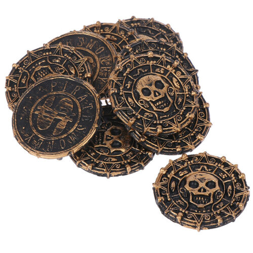 10pcs Plastic Pirate Treasure Coins Kids Toys Game Coins Halloween Party ProWR