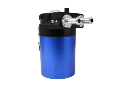 BLUE BLACK R2 ROUND OIL RESERVOIR CATCH TANK CAN BREATHER 15mm UNIVERSAL
