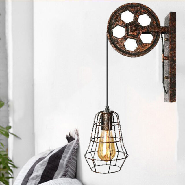 Vintage Iron Wall Mounted Pulley Light Retro Rustic Wheel Design Lamp
