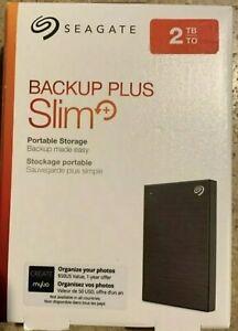 Seagate Backup Plus Slim USB 3.0 2TB Portable Hard Drive - Black - BRAND NEW