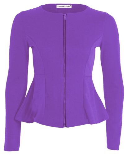Femmes Blazer Manches Tailles Grandes Vestes Longues Neuf Patineuse Tube Péplum AnTdqF