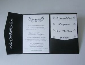 Image Is Loading Laser Cut Black Pocketfold Wedding Invitations DIY Pocket