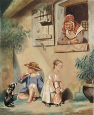 Antique French Gouache, Children, Girl and Doll, Boy and Dog