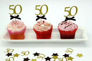 Image Is Loading 50th Birthday Cupcake Toppers Party Accessories Fifty