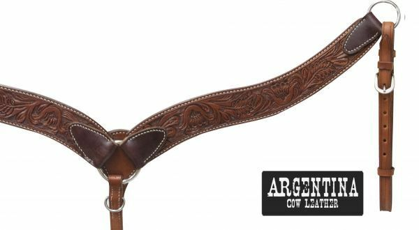 mostrareuomo argentoina Cow Leather Floral struuominitoed Contourosso Breast Collar   nuovo TACK