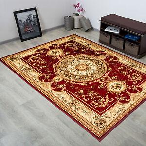teppich klassisch gemustert kreis ornamente in rot neu 3d effekt ebay. Black Bedroom Furniture Sets. Home Design Ideas