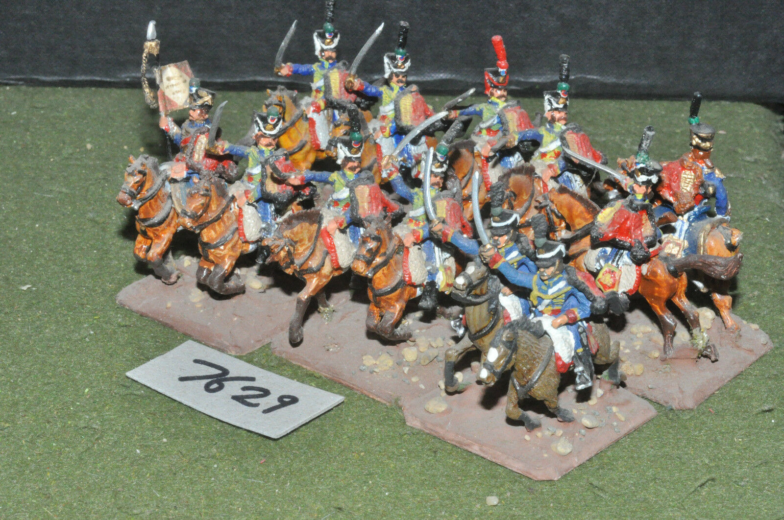 25mm napoleonic   french - hussars 12 cavalry painted metal - cav (7629)