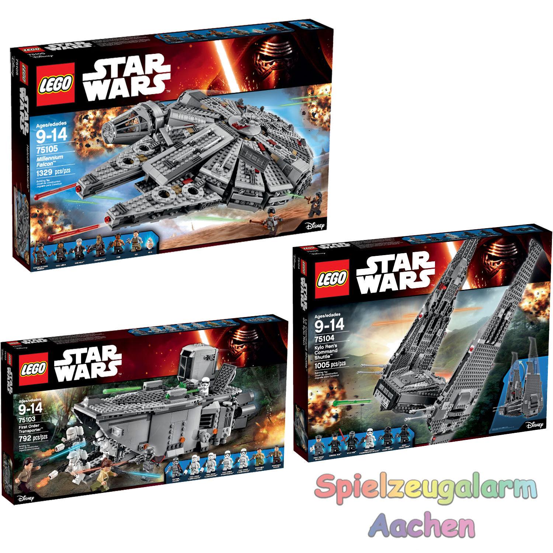 LEGO STAR WARS Set 75103 75104 75105 First Order Transporter Millennium Falcon