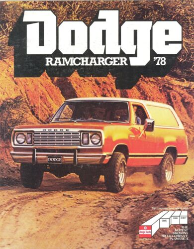 1978 Dodge Ramcharger AD100 /& AW100 Truck Sales Brochure