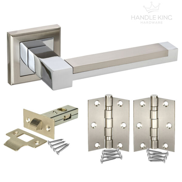 5 X Straight T Door Handle Pack Latch Set 1 x Bathroom Set With Hinges