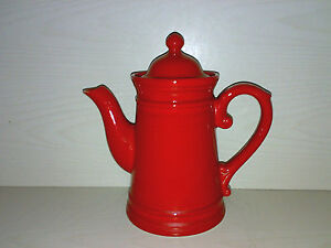 Kaffeekanne-Teekanne-Kakao-Kanne-Rot-Red-60s-70s-Keramik-Pottery-Space-Age