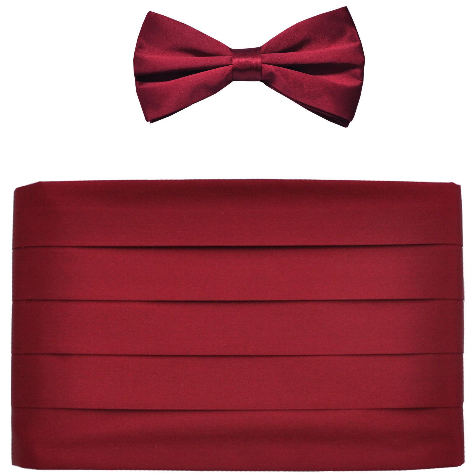 NEW in box men's formal 100% SILK Cummerbund, bowtie set solid BURGUNDY wedding