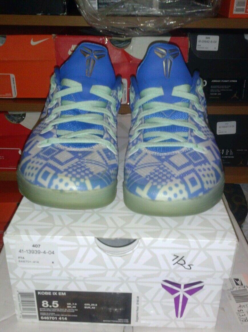 Nike Kobe Shoes IX EM Men's size 8.5  Blue  white rare nice zoom mamba