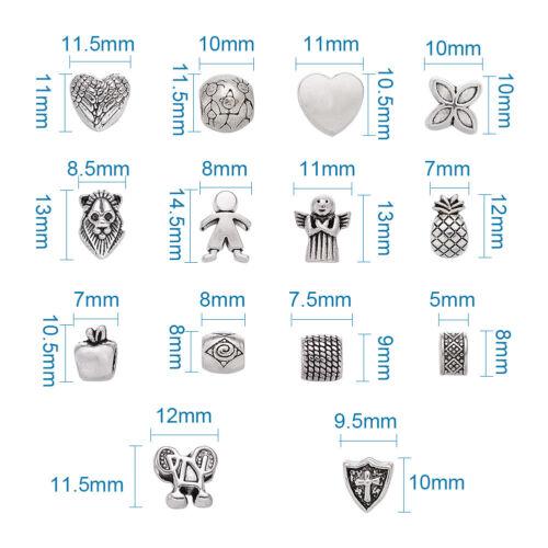 100pc Antique Silver Color Alloy European Large Hole Beads Bracelet Charm 7~13mm