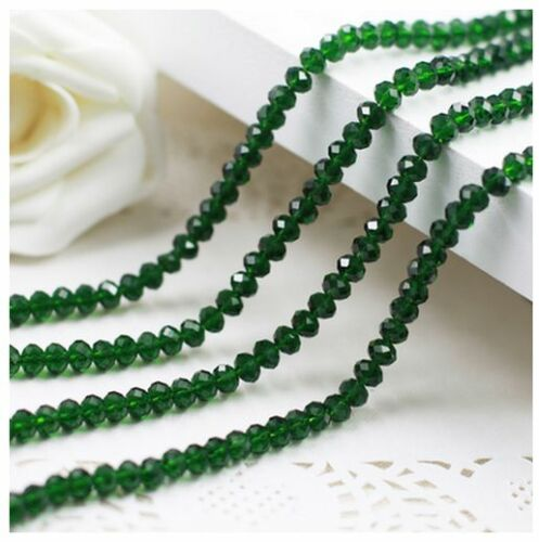 100Pcs 3mm//4mm//6mm//8mm//10mm Rondelle Faceted Crystal Glass Spacer Loose Beads