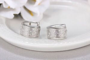 Shiny-Solid-925-Sterling-Silver-Hoop-Circle-Huggie-Cubic-Zirconia-Earrings-Gift