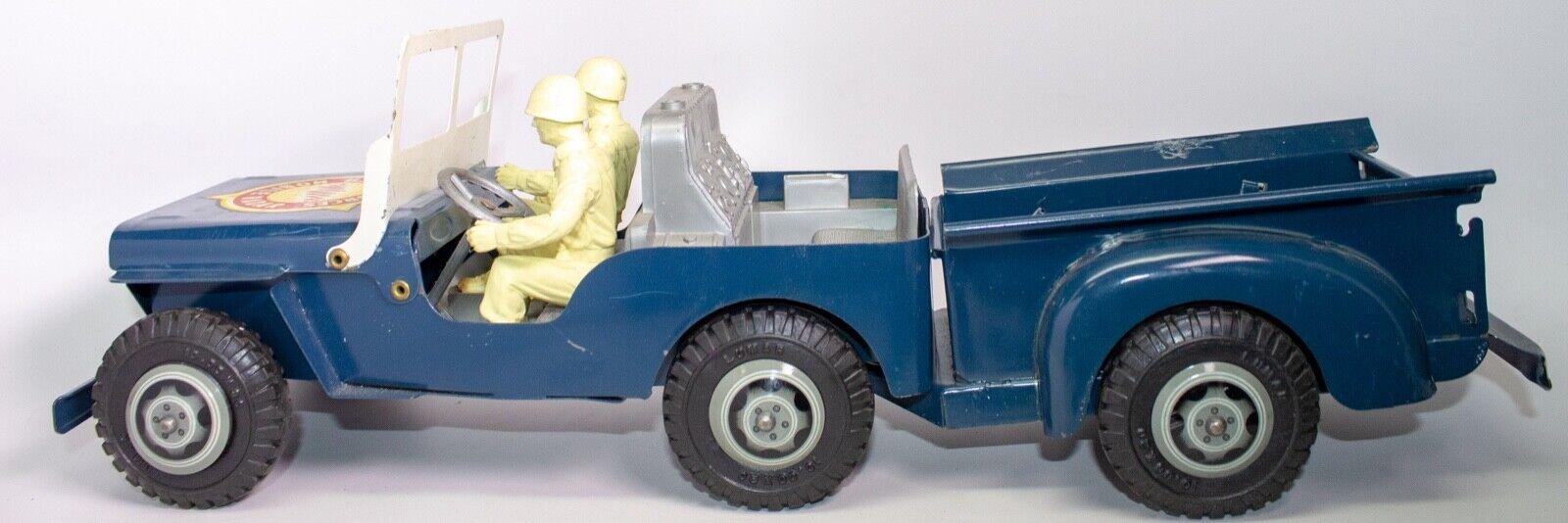 Vintage Marx Willys Jeep   USA Forze Armate Mobile Radar   W Soldati, Trailer
