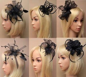Ascot Races Funeral Prom Black Hair Flower Hat Fascinator Clip Comb ... c21d2dbd45c