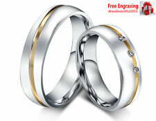 Matching Couple Rings Wedding Bands Titanium steel Love ring Gift Free Engraving