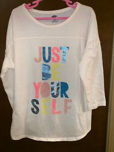 Old-Navy-Just-Be-Yourself-Girls-T-Shirt-Large-10-12-3-4-Sleeves-Cream-Off-White