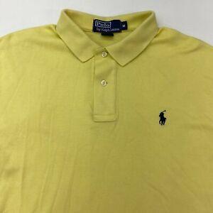 Polo Ralph Lauren Polo Shirt Mens Medium Short Sleeve Yellow High Low Hem Cotton