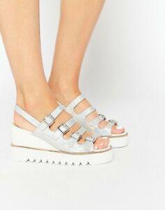 ASOS HEADHUNTED Wedges sandals platform heel silver shoes EU38/UK5