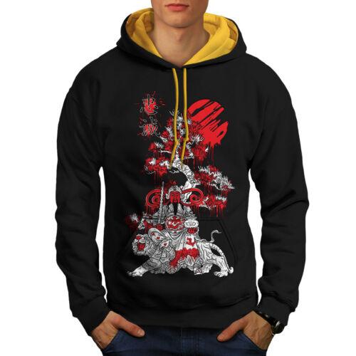 Felpa New cappuccio Black cappuccio uomo giapponese con Knight Fantasy Contrast oro da vrxqAw8v