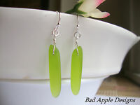 Green Sea Glass Fishbone Dagger Tusk Bead Silver Earrings Beach Boho Resort