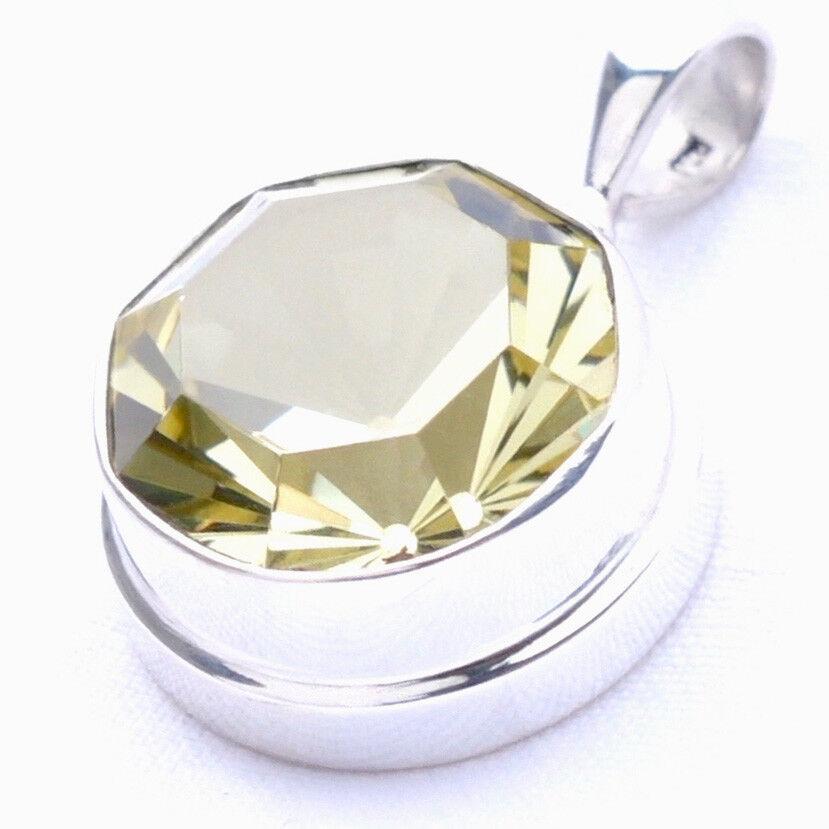QUARZ silver 925 31mm Anhänger für Kette quartz 16mm facette VIDEO Qylemon03