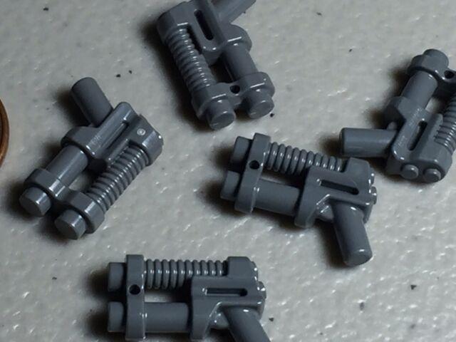 Lego Minifigure Weapon Gun Two Barrel Pistol - Dark Bluish Gray - 9486 NEW