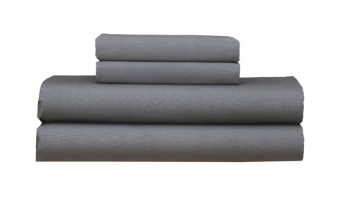 Dark Grey Cotton Blend Single Fitted Sheet With Pillowcases Set No Flat Sheet
