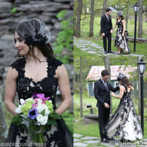 Details about Plus Size Black and White Wedding Dress High Low Gothic  Bridal Gowns Custom 2-26